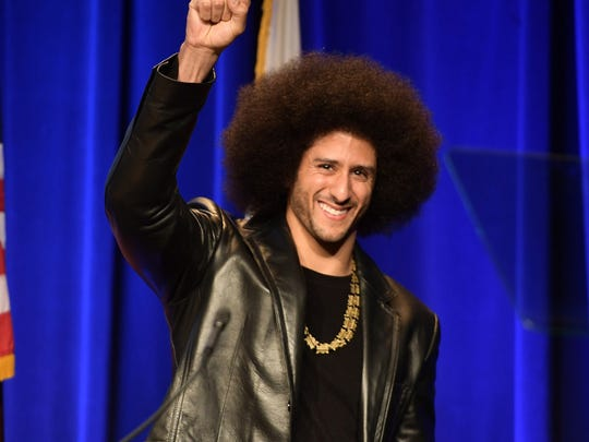 BEVERLY HILLS, CA - DECEMBER 03:  Honoree Colin Kaepernick speaks onstage at ACLU SoCal Hosts Annual Bill of Rights Dinner at the Beverly Wilshire Four Seasons Hotel on December 3, 2017 in Beverly Hills, California.  (Photo by Matt Winkelmeyer/Getty Images)
