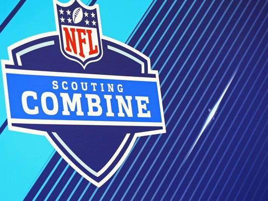 Mar 2, 2018; Indianapolis, IN, USA; A view of the NFL Scouting Combine logo on the backdrop as players speak with media during the NFL Combine at the Indianapolis Convention Center. Mandatory Credit: Aaron Doster-USA TODAY Sports
