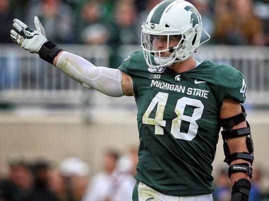 Sep 28, 2019; East Lansing, MI, USA; Michigan State Spartans defensive end Kenny Willekes (48) reacts during the first half of a game against the Indiana Hoosiers at Spartan Stadium. Mandatory Credit: Mike Carter-USA TODAY Sports