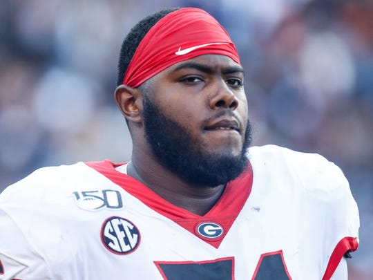 Georgia offensive lineman Andrew Thomas (71) during the first half of an NCAA college football game against Auburn, Saturday, Nov. 16, 2019, in Auburn, Ala. (AP Photo/Butch Dill)