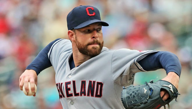 In this Aug. 21, 2014, file photo, Cleveland Indians pitcher Corey Kluber throws against the Minnesota Twins during a baseball game in Minneapolis.