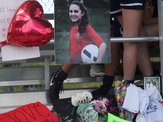A memorial for Alyssa Alhadeff at the Pines Trail Park