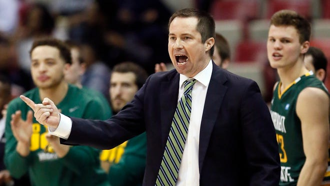 Wright State coach Billy Donlon shouts to his team against Oakland on March 7, 2016, in Detroit.