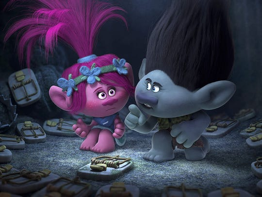 Poppy, left, voiced by Anna Kendrick, and Branch, voiced