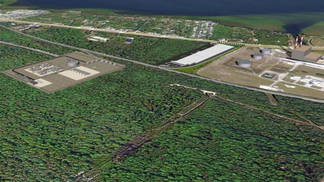 This artist's rendering shows the proposed $250 million liquefied natural gas production and distribution plant in Titusville, at left, in relation to the nearby Orlando Utilities Commission power plant.