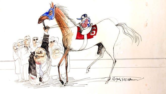 'Kentucky Derby 1970' an illustration by Ralph Steadman