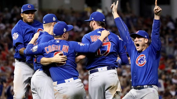 CLEVELAND, OH - NOVEMBER 02: The Chicago Cubs celebrate after winning 8-7 against the Cleveland Indians in Game Seven of the 2016 World Series at Progressive Field on November 2, 2016 in Cleveland, Ohio. The Cubs win their first World Series in 108 years. (Photo by Ezra Shaw/Getty Images) *** BESTPIX *** ORG XMIT: 678125603 ORIG FILE ID: 620748132
