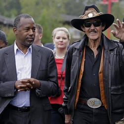 Republican presidential candidate Ben Carson and NASCAR legend Richard Petty in Randleman, N.C., on Sept. 28, 2015.