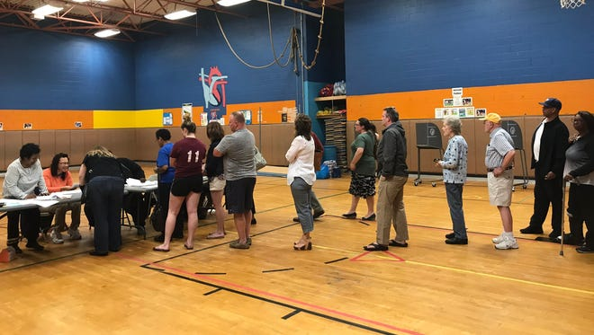 City of Poughkeepsie voters line up to vote at Krieger Elementary School Tuesday.