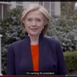 Hillary Clinton announces her campaign for president Sunday on her website.