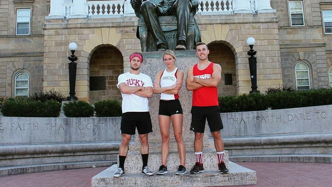 Taylor Amann of Arrowhead High School and now the University of Wisconsin will compete in the American Ninja Warrior college team competition with teammates (left) Zack Kemmerer and Andrew Philibeck.