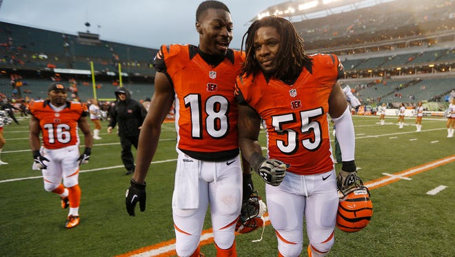 Bengals wide receiver A.J. Green (18) and outside linebacker Vontaze Burfict