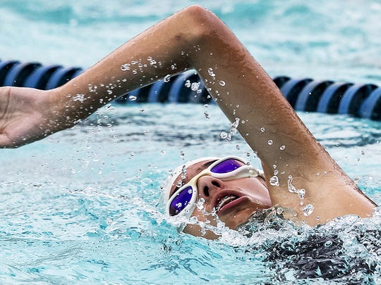 Adrianna Cadena of Mt. Juliet competes in the swim portion of the Try Boro Kids Triathlon held at SportsCom.