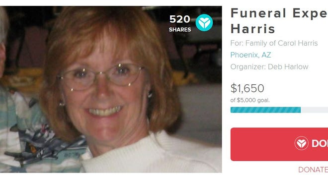 YouCaring page for Carol Harris, who was mauled to death by a dog she was trying to rehabilitate at a kennel in Phoenix on Dec. 20, 2017.