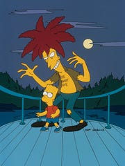 """Sideshow Bob, right, terrorizes, Bart, as usual, in """"Cape Feare,"""" a 1993 episode of """"The Simpsons"""" that features a classic stepping-on-a-rake scene."""