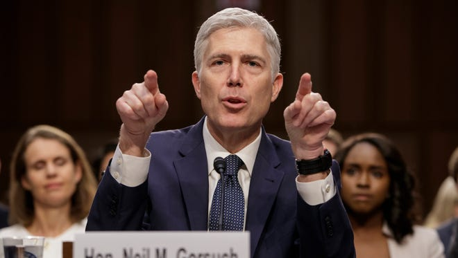 Neil Gorsuch testifies on Capitol Hill on March 22, 2017, at his confirmation hearing before the Senate Judiciary Committee.