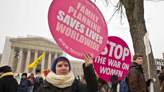 Abortion-rights protesters outside the Supreme Court on Jan. 25.