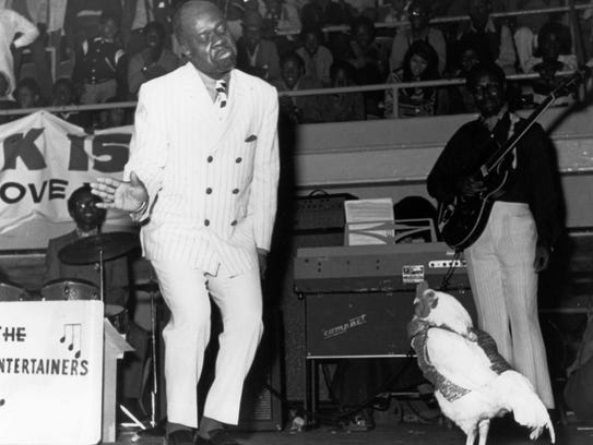 Rufus Thomas does the Funky Chicken, with a funky chicken.