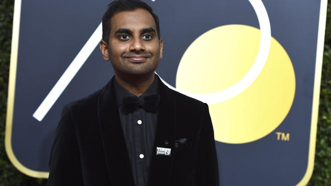 In this Jan. 7, 2018, file photo, Aziz Ansari arrives at the 75th annual Golden Globe Awards at the Beverly Hilton Hotel in Beverly Hills, California.