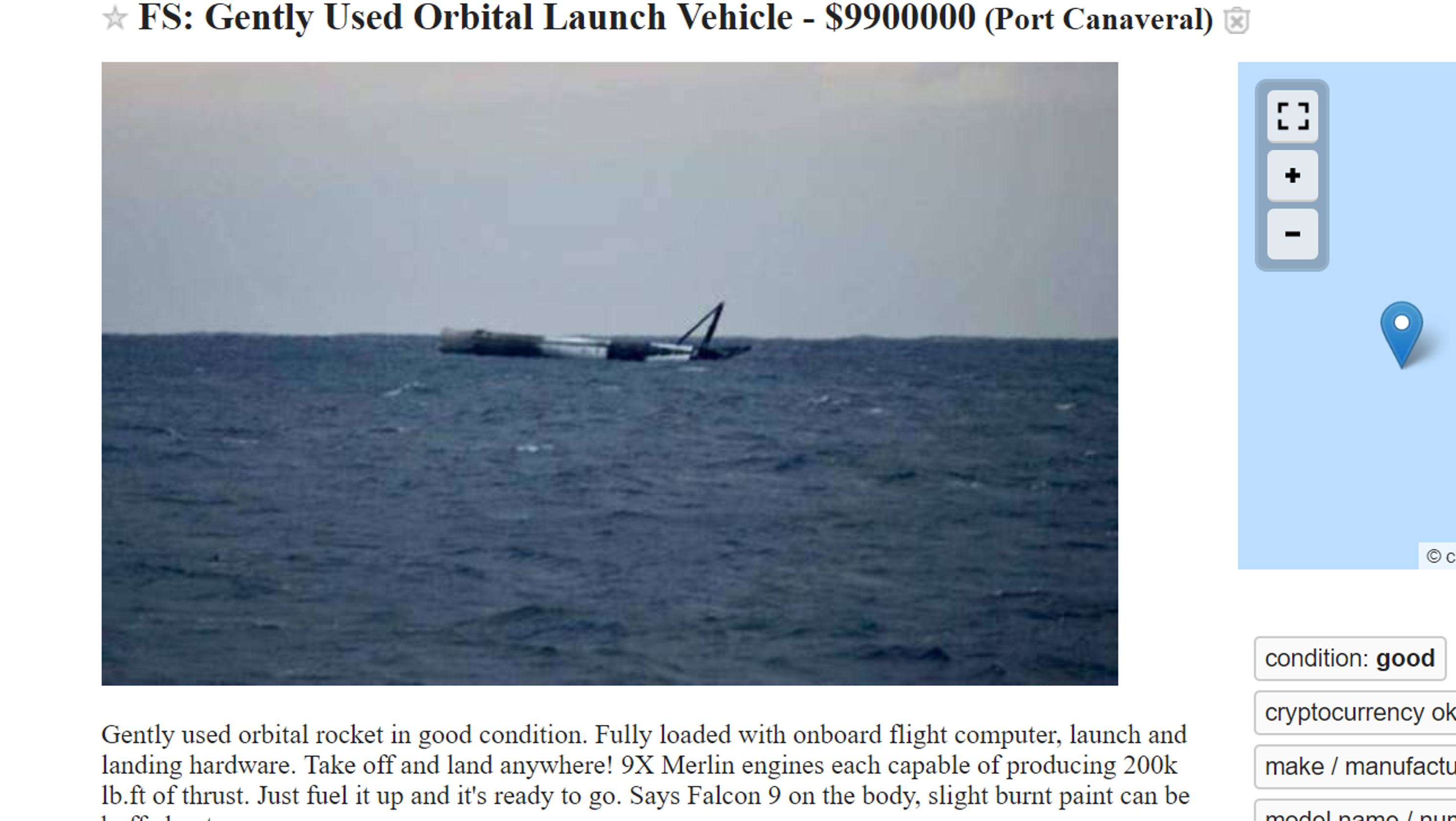 A Gently Used Spacex Rocket Is For Sale On Craigslist