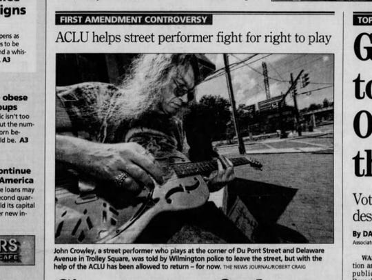 A Trolley Square street performer was threatened with arrest in 2011 after he was caught playing his guitar in public without a permit. The law the city alleged he violated could be repealed by the Wilmington City Council.