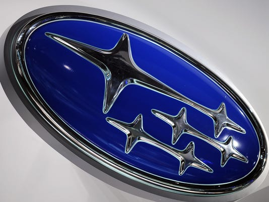 The Subaru logo is pictured during the p