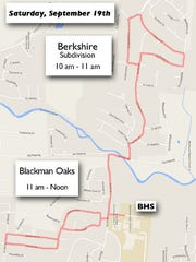 The Blackman High School band will march through two