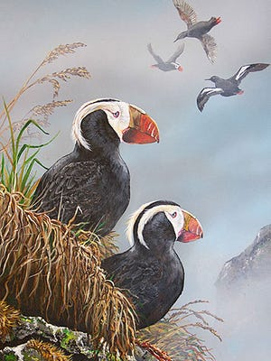 The 2015 winning artwork of Tufted Puffins by Don Meinders of Otto, North Carolina, is featured on the label of Conservation Cuvée – Lot 3.