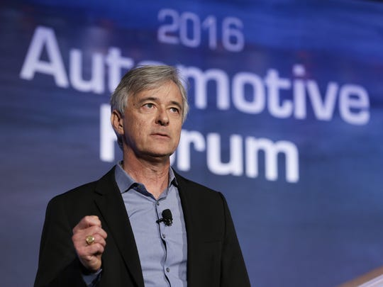 John Krafcik, the head of Google's Self-Driving Car Project, speaks at an automotive forum in New York on March 22, 2016.