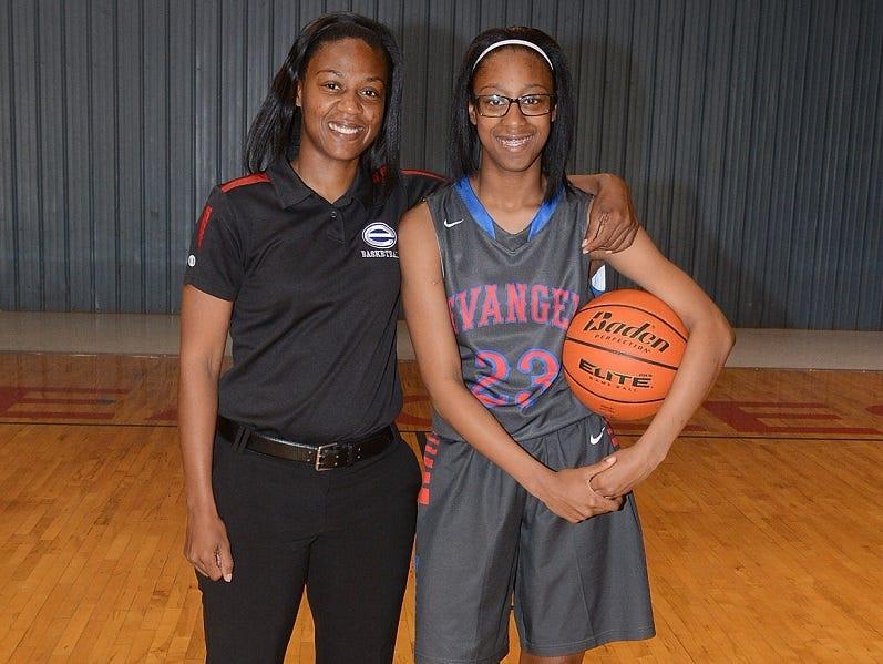 Evangel girls' basketball coach Meoka Young with her daughter Tiara.