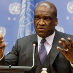 In this Sept. 17, 2013, file photo, Ambassador John Ashe, of Antigua and Barbuda, the President of the General Assembly 68th session, speaks during a news conference at United Nations headquarters. Former United Nations General Assembly President Ashe accepted more than $500,000 in bribes from a Chinese real estate mogul and other businesspeople in exchange for help obtaining lucrative investments and government contracts, according to federal court documents unsealed Tuesday, Oct. 6, 2015. (AP Photo/Richard Drew, File)