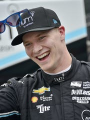 Josef Newgarden, driving for Team Penske, is in his