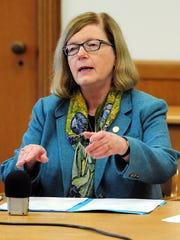 Senate Majority Leader Diane Rosenbaum, D-Portland, answers a question during a legislative forum inside the Capitol on Tuesday, January 27.