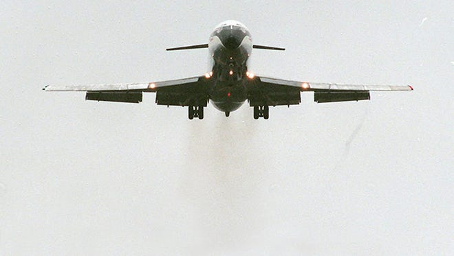 A file photo shows a plane taking off at Jackson Airport