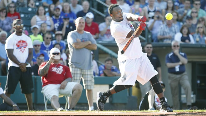 Buffalo Bills running back LeSean McCoy takes his turn at the home run derby during the LeSean McCoy Celebrity Softball game at Frontier Field.
