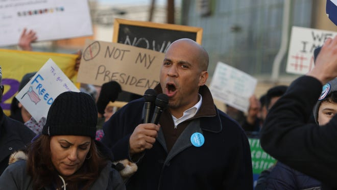 Senator Cory Booker speaking to a crowd in support of immigrants and refugees at a January rally in Elizabeth.