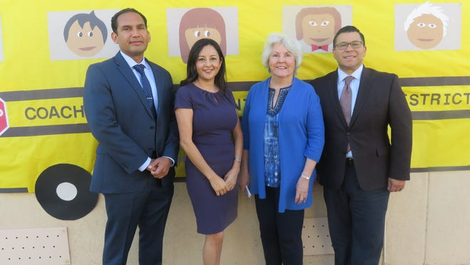 From left to right - Dr. Edwin Gomez, CVUSD superintendent; Gracie Gulierrez, principal of Mecca Elementary School; Roberta Klein, founder and director of Read With Me Volunteers; and Eduardo Garcia, assembly member district 56.