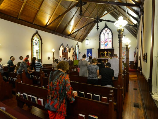 Parishioners worship at St. Mary's Episcopal Church