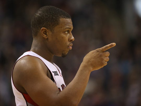 Kyle Lowry looks on during a game last season.