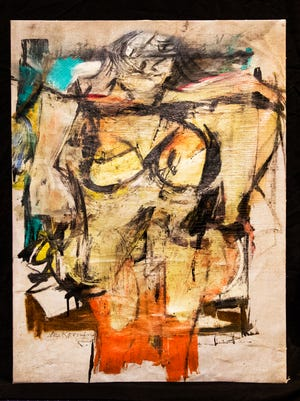 "This painting, ""Woman-Ochre,"" by artist Willem de Kooning, was stolen from the University of Arizona Museum of Art in Tucson in 1985. It was recovered in August 2017 at a New Mexico antiques shop."