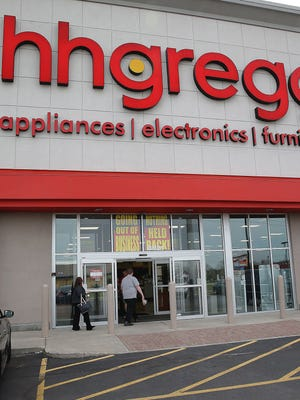 "With 220 store closings, HHGregg is having ""going-out-of-business"" sales. Here, a store in Indianapolis, where the electronics seller is based."