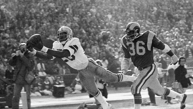 Freeport grad Preston Pearson makes a diving touchdown catch for the Dallas Cowboys against the Los Angeles Rams in the 1976 NFC Championship Game. Pearson had seven receptions for 123 yards and three touchdowns in the game.