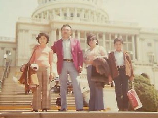 Rosa Luz, left, on a family trip to Washington, D.C. Her parents, Luis and Rosa, moved the family to New York from Peru in 1973, right when Rosa Luz turned 9.