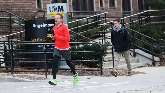 University of Wisconsin Milwaukee nursing student Wade Snowden runs near the campus in Milwaukee in preparation for his first marathon.