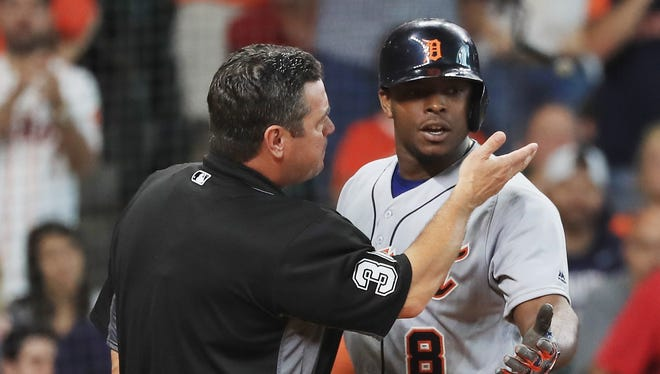 Justin Upton argues with umpire Rob Drake after being called out on strikes and ejected during the seventh inning.