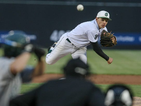 Brandon Bielak pitches in the 2014 Greater Middlesex Conference Tournament baseball final against South Plainfield at TD Bank Ballpark in Bridgewater.