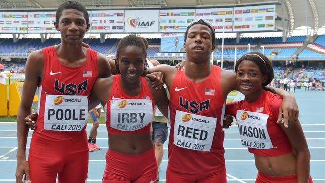 Lynna Irby (second from left), a Pike high school sprinter, helped the U.S. team to a gold medal at the under-17 World Youth Championships in Cali, Colombia on Sunday, July 19, 2015.