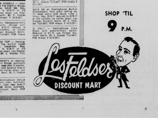 The logo for Les Feldser Discount Mart in a 1965 ad