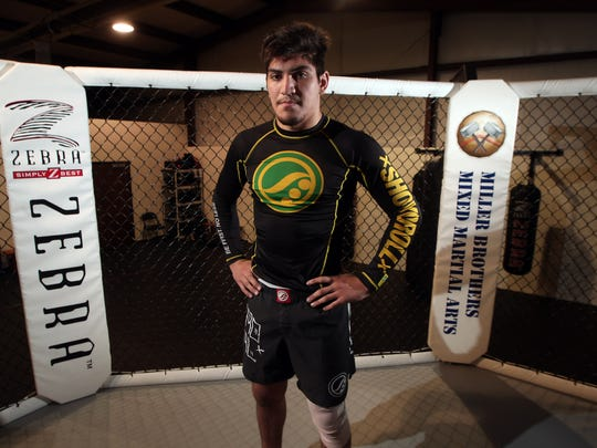 Parsippany Hills grad Dillon Danis training at Miller Brothers MMA in Sparta for his first major event, Metamoris, a Brazilian jiu-jitsu competition in Los Angeles where athletes compete in 20 minute, submission-only matches. May 1, 2015. Sparta, N.J. Bob Karp/Staff Photographer.