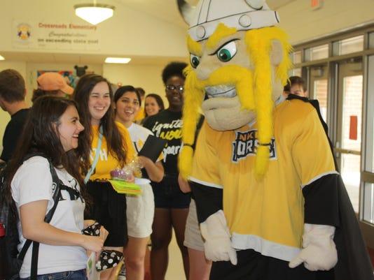 NKU mascot and student.JPG